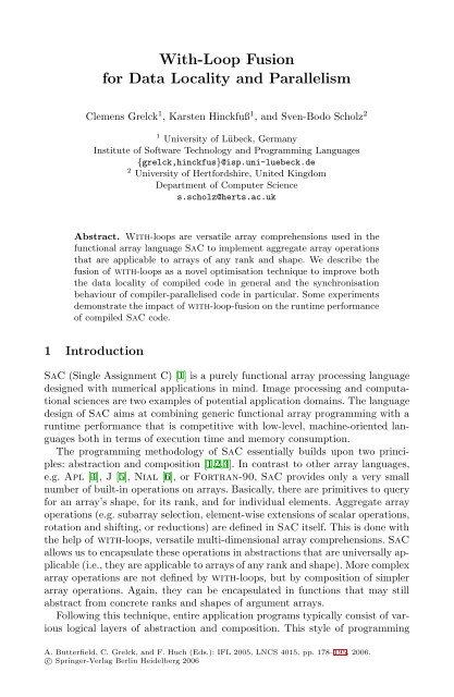 LNCS 4015 - With-Loop Fusion for Data Locality and Parallelism