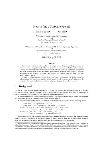 How to find a Software Patent?