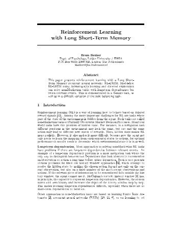 Reinforcement Learning with Long Short-Term Memory