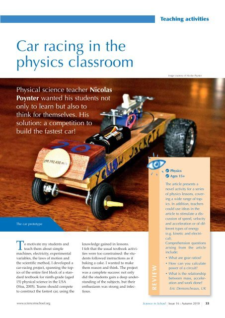 Car racing in the physics classroom - Science in School