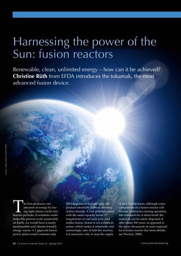 Harnessing the power of the Sun: fusion reactors - Science in School