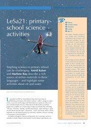 LeSa21: primary- school science activities - Science in School