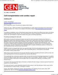 Cell Transplantation and Cardiac Repair - ScienceScribe.Net