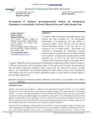 Development of Validated Spectrophotometric ... - Sciensage.info