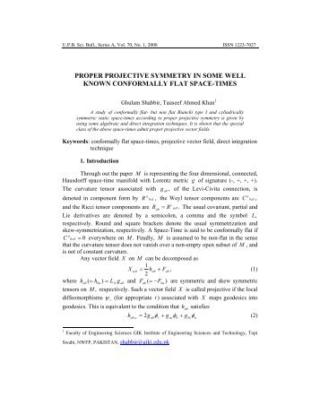 projective vector field - Scientific Bulletin