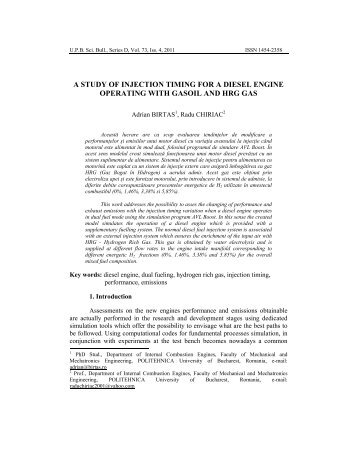 A study of injection timing for a diesel engine ... - Scientific Bulletin