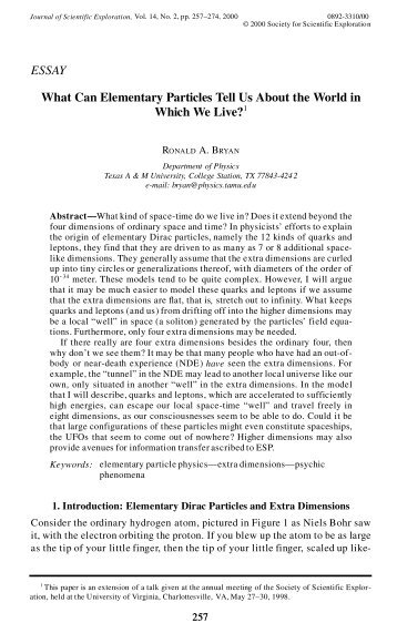 What Can Elementary Particles Tell Us About the World in Which We ...