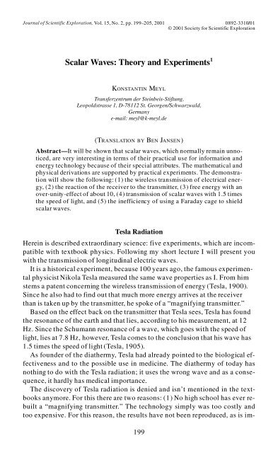 Scalar Waves: Theory and Experiments - Society for