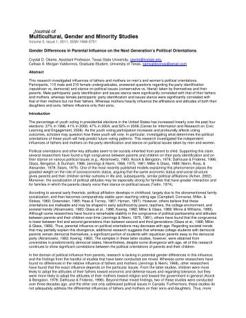 gender differences in parental influence on Little is known, however, about body image in younger children in particular, little is known about possible gender differences in preadolescent children the current study explored self-reported body image disturbance and psychological functioning in relation to peer and parental influences in 141 elementary school-aged girls and boys aged 8-11.