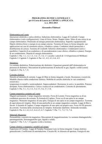 PROGRAMMA DI FISICA GENERALE 2 per il Corso di Laurea in ...