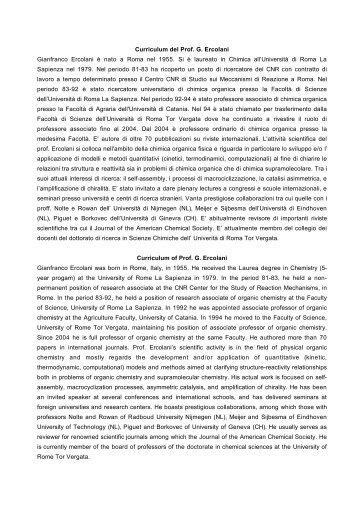 Curriculum del Prof. G. Ercolani Gianfranco Ercolani è nato a Roma ...