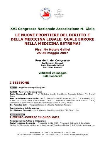 25-26 maggio 2007 Pisa BIOETICA E ONCOLOGIA