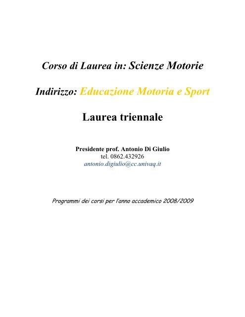 Indirizzo Educazione Motoria E Sport Laurea Triennale Scienze