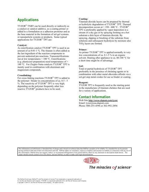 Applications TYZOR ® TNB