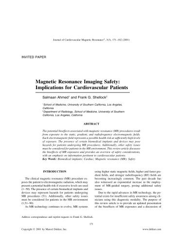 Magnetic Resonance Imaging Safety - Society of Cardiovascular ...