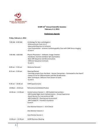 SCMR 16th Annual Scientific Sessions February 1-3, 2013 ...