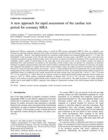 A new approach for rapid assessment of the cardiac rest period for ...