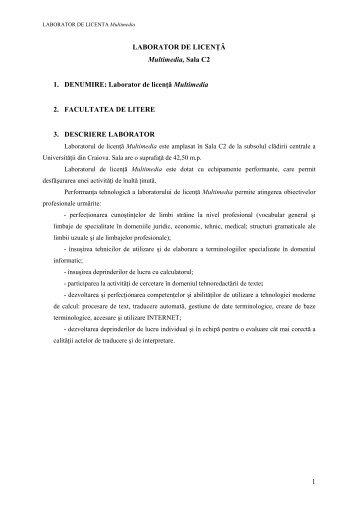 Laboratorul de licenţă Multimedia - Universitatea din Craiova
