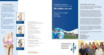 Wir stellen uns vor! - Orthopädische Klinikpraxis im Rheingau