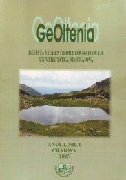 Revista Geoltenia, nr I - Universitatea din Craiova