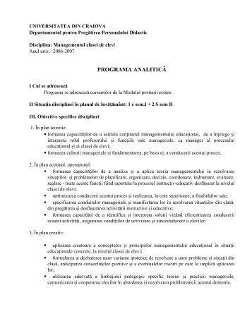 Managementul clasei de elevi - Universitatea din Craiova