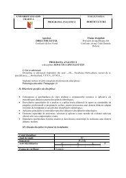 Programa analitica didactica - Universitatea din Craiova