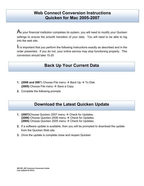 Web Connect Conversion Instructions Quicken for Mac 2005-2007