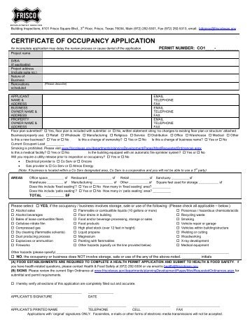 CERTIFICATE OF OCCUPANCY APPLICATION - City of Frisco