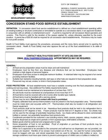 concession stand food service establishment - City of Frisco