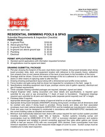 RESIDENTIAL SWIMMING POOLS & SPAS - City of Frisco