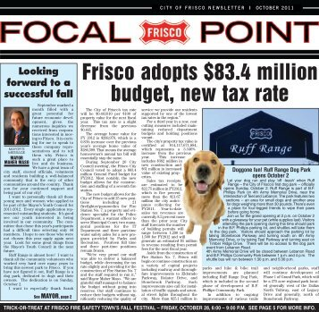 Frisco adopts $83.4 million budget, new tax rate - City of Frisco