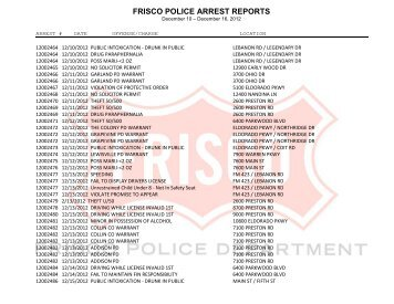 FRISCO POLICE ARREST REPORTS