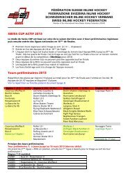 modus swiss cup 2013 - Fédération Suisse de Inline Hockey