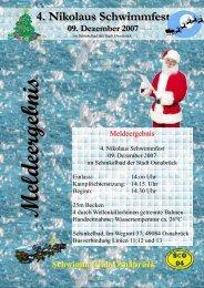 Meldeergebnis Nikolausschwimmfest 2007 Wasser - Schwimm Club ...