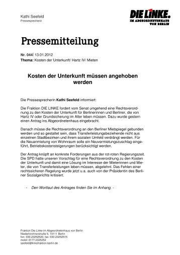 Kosten der Unterkunft müssen angehoben werden - DIE LINKE. Berlin
