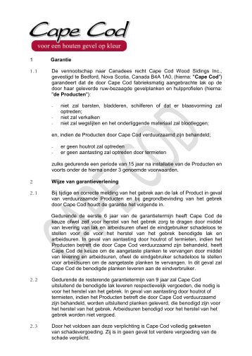 Garantie Nederland - Cape Cod