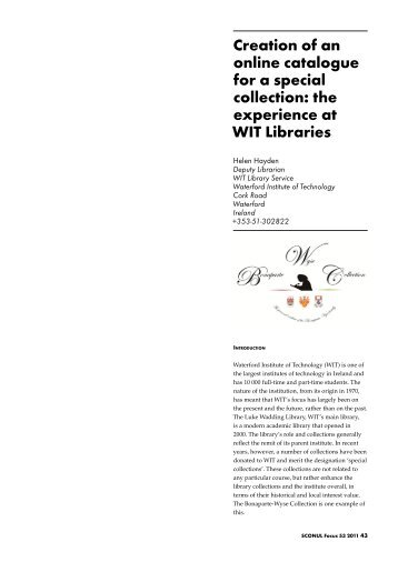 Creation of an online catalogue for a special collection ... - SCONUL