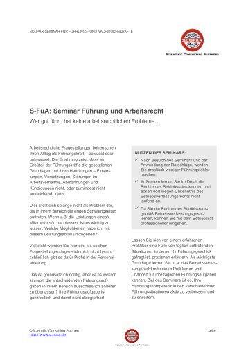 S-FuA: Seminar Führung und Arbeitsrecht - SCOPAR Scientific ...