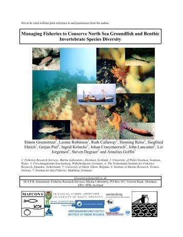 Managing Fisheries to Conserve North Sea Groundfish and Benthic ...