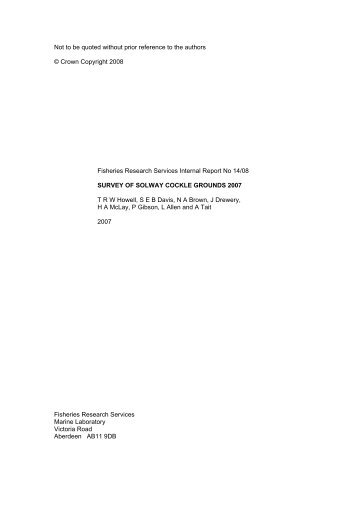 Survey of Solway cockle grounds 2007 - Scottish Government