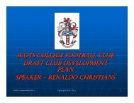 Club Development Plan - Scots College