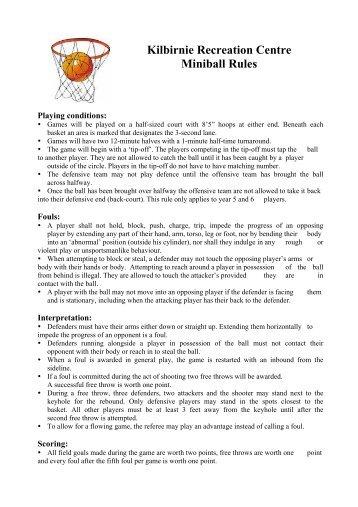Kilbirnie Recreation Centre Miniball Rules - Scots College