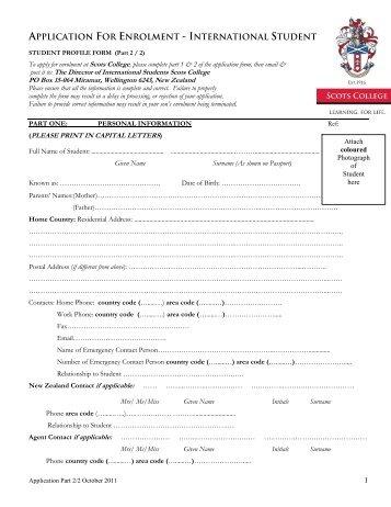 application for enrolment - international student - Scots College