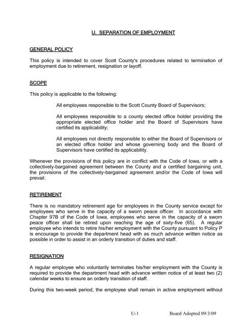 21 U Separation of Employment - Scott County