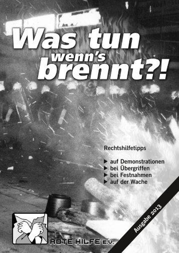Was tun wenns brennt (pdf) - Rote Hilfe Greifswald