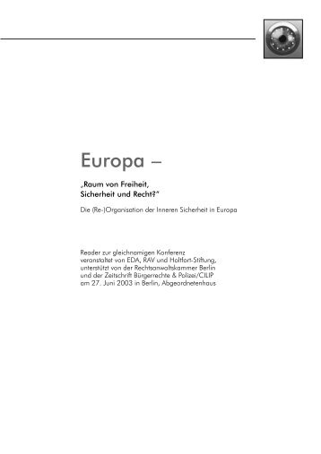 RAV-Reader Europa – Raum von Freiheit, Sicherheit und Recht? (pdf)