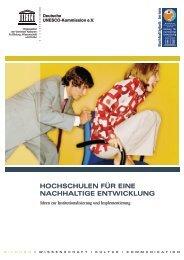 Broschüre: Hochschulen für eine nachhaltige Entwicklung. Ideen zur ...