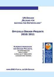 Vorstellung der Dekade-Projekte - Bildung für nachhaltige Entwicklung