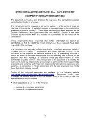 Summary of consultation responses - Scottish Parliament