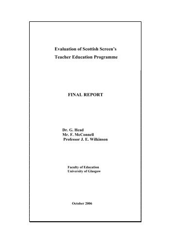 Evaluation of Scottish Screen's Teacher Education Programme ...